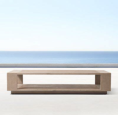 Clad in marble, a tracery of natural veining lends each table unique character, while a low, inset base makes this monumental piece appear to float. Massimo Teak Coffee Table | Teak coffee table, Stone coffee table, Coffee table restoration hardware