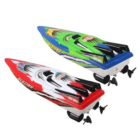 Toy Boat Rc by Red Green Plastic Durable Remote Control Twin Motor High