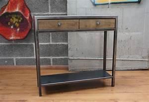Console Metal Et Bois : console tiroirs bois et m tal mobilier design ~ Teatrodelosmanantiales.com Idées de Décoration