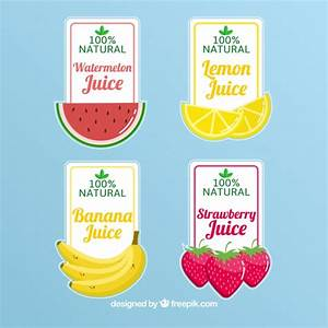 Selection of four fruit juice labels Vector | Free Download