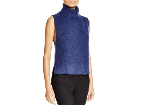sleeveless turtleneck sweater magaschoni sleeveless turtleneck sweater in blue
