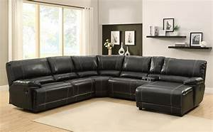 Homelegance cale sectional sofa set black bonded for Sectional sofa with bed and recliner