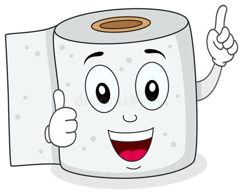 Cheerful Toilet Paper Smiling Character Stock Vector