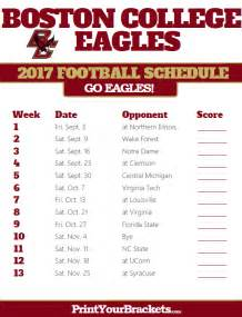 Printable Boston College Eagles Football Schedule 2017
