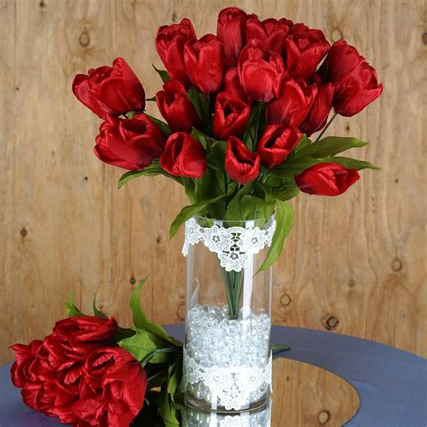 56 Tulips Silk Artificial Wedding Flowers For Bouquets