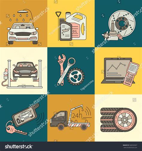 vector thin  pictogram symbols car stock vector