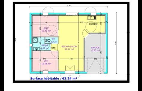 plan de maison 2 chambres plan maison 2 chambre salon cuisine