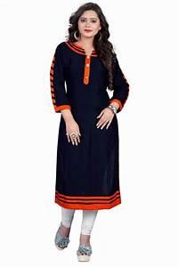 Buy Blue plain rayon kurti Online
