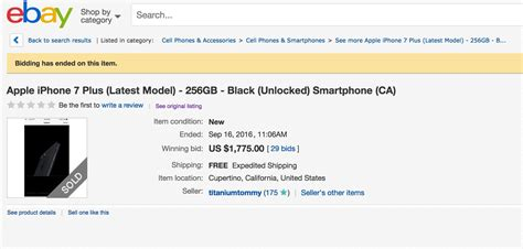 iphone on ebay jet black iphone 7 plus is a item on ebay cult of mac