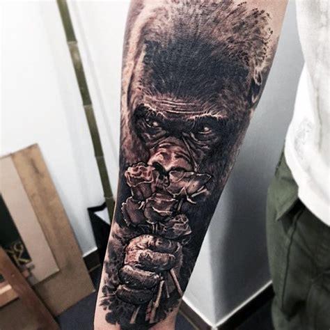 gorilla tattoo designs  men great ape ideas