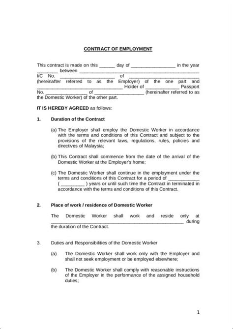 FREE 27+ Employment Contract Samples & Templates in PDF | MS Word | Google Docs | Excel