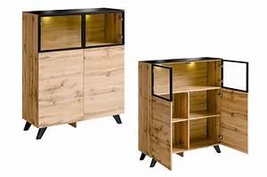 Petit Buffet Salon : petit buffet haut en bois et verre avec clairage jao cbc meubles ~ Teatrodelosmanantiales.com Idées de Décoration
