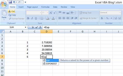 excel vbaformula math functions exp excel macro