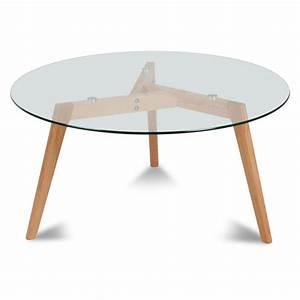 Plateau En Verre Rond : table ronde plateau de verre style design demeure et jardin ~ Teatrodelosmanantiales.com Idées de Décoration