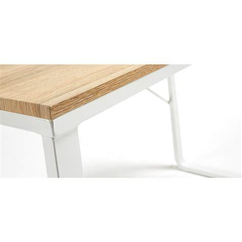 bureau blanc et bureau design structure en métal blanc et plateau en bois