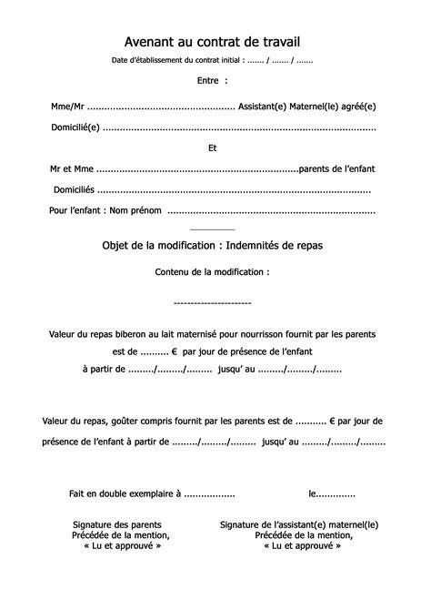 Modification Contrat De Travail Fusion by Avenant D 233 Finition C Est Quoi
