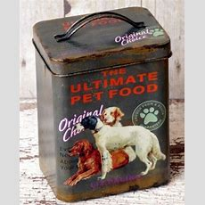 Dog Treats Food Canister Tin Storage Vintage Antique Style
