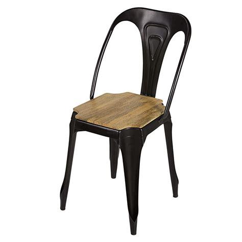 chaise design metal noir chaise indus en métal noir mat et manguier multipl 39 s