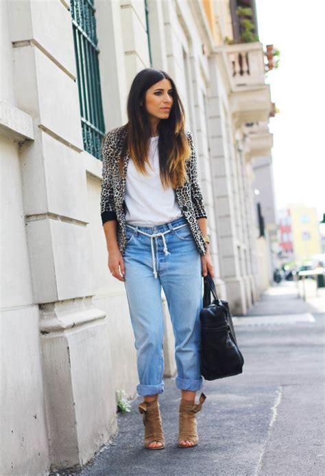 stylish ways  wear boyfriend jeans  heels