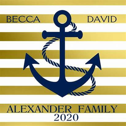 Gold Anchor Stripes Personalized Candle Lake Gifts