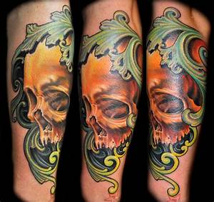 Realistic Color Skull Tattoo with Filigree by Nate Beavers ...
