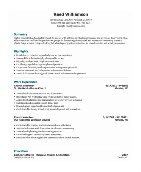 Resume Volunteer by 10 Volunteer Resume Templates Pdf Doc Free Premium