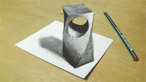 drawing  holey object trick art  graphite pencils