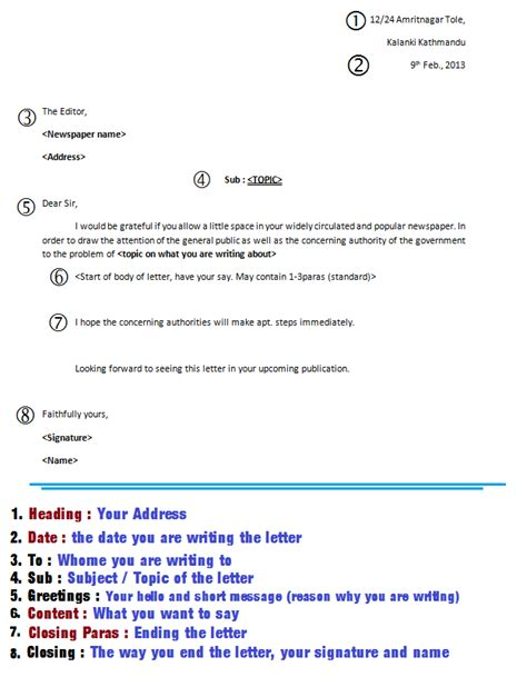 letter  editor creative writing section reference notes