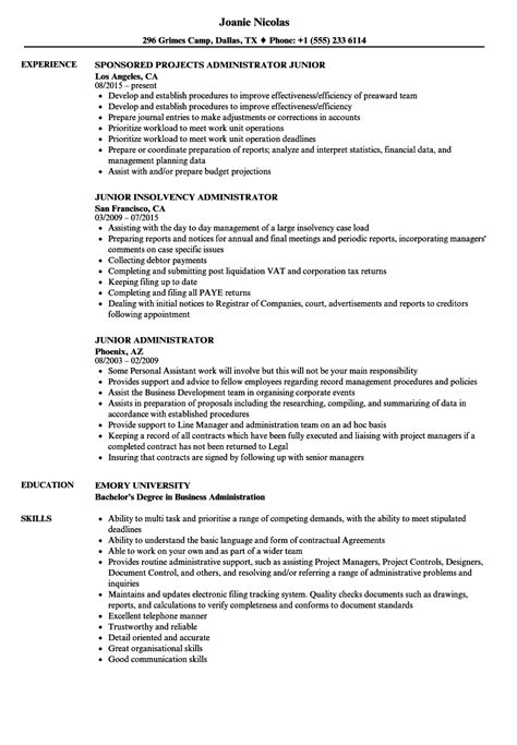 Salesforce Administrator Resume by Junior Administrator Resume Sles Velvet