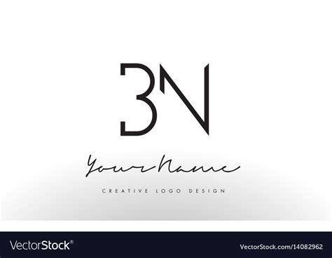 Bn Letters Logo Design Slim Creative Simple Black Vector Image