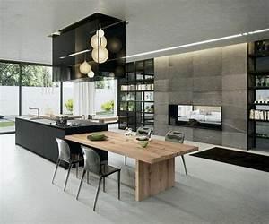 la cuisine equipee avec ilot central 66 idees en photos With petite cuisine équipée avec achat table