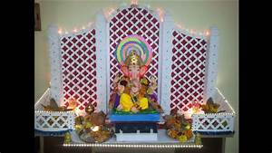 Ganpati decoration idea for home - YouTube