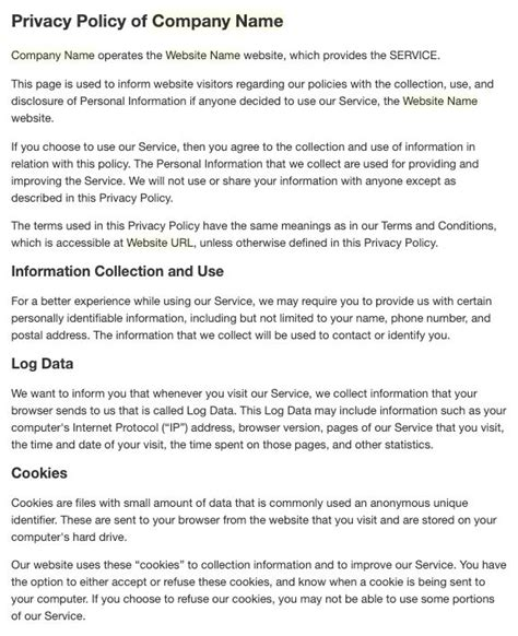 Generate a privacy policy for your project. Privacy Policy Template Generator - Easily Create Your Own ...