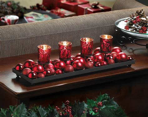 Red Christmas Ball Ornament Fireplace Long Centerpiece