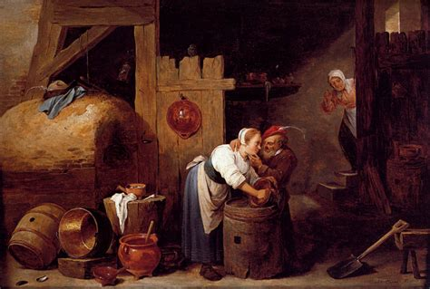Home Interior Old Man And Woman : Interior Scene With A Young Woman Scrubbing Pots While An