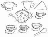 Tea Coloring Printable Alice Wonderland Boston Teapot Drawing Clipart Preschool Sheets Sheet Adults Birthday Trend Princess Table Popular Teacups Coloringhome sketch template
