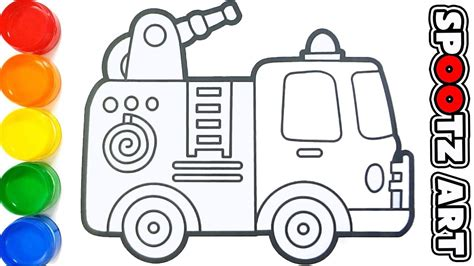 mewarnai gambar mobil pemadam kebakaran kartun gambar