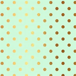 Gold polka dots on mint background - Luxury greenery ...