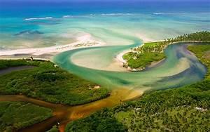 Forest, River, Jungles, Brazil, Aerial, View, Estuaries, Beach, Sea, Nature, Landscape, Wallpapers