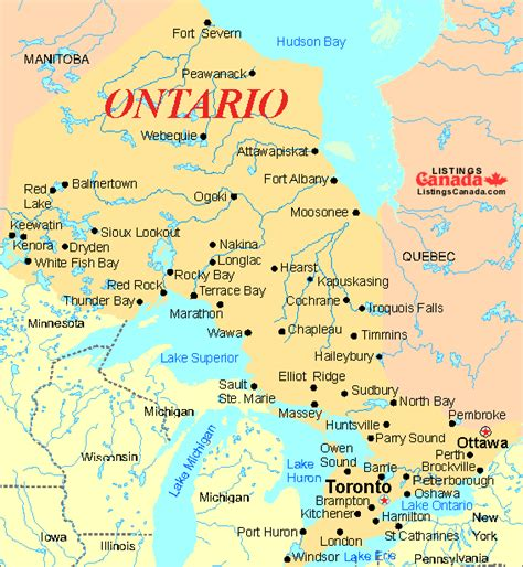 ontario regions map map  canada city geography