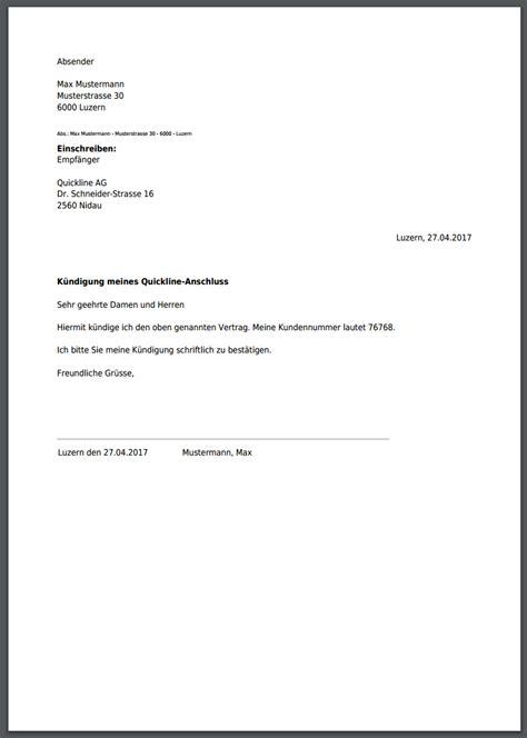 kuendigung quickline internet anschluss   erstellen