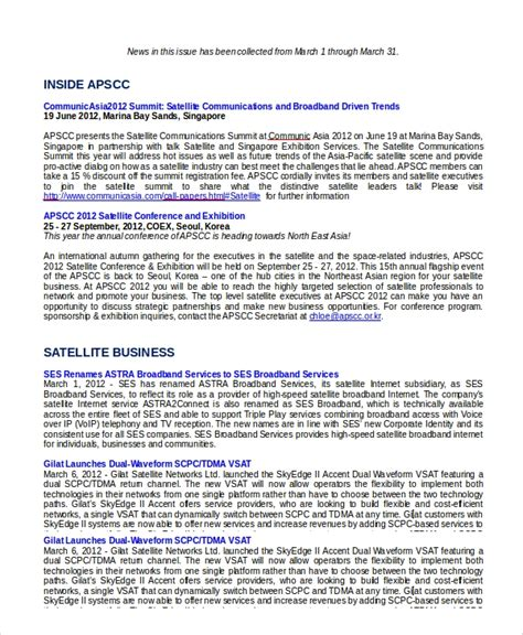 sample monthly newsletter  documents   word