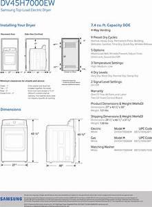 Samsung Dv45h7000ew A2 Specification Sheet