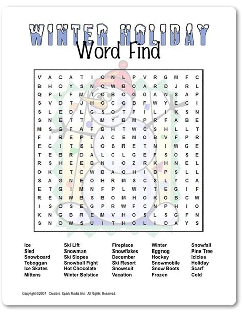 hard printable word searches for adults printable winter
