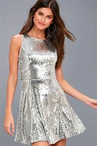 Cute Silver Dress Sequin Dress Skater Dress