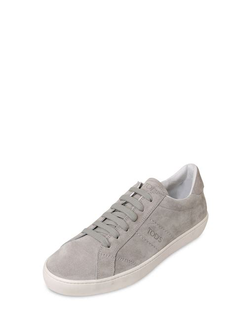 light grey sneakers tod s suede tennis sneakers in gray for light grey
