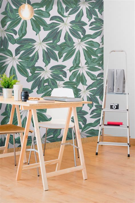 bureau peint le papier peint tropical pour décorer votre intérieur