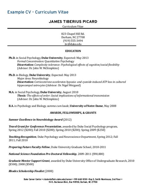 Psychology Student Curriculum Vitae by Cv Document Collection