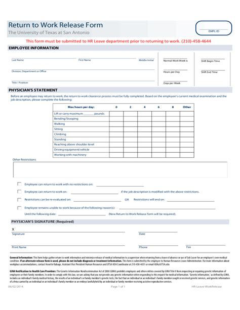 20119 work release form return to work release form the of at