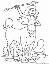 Coloring Centaur Spear Throwing Pages sketch template